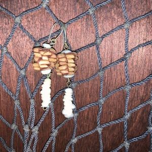Hawaiian Lauhala Earrings with Puka Shells